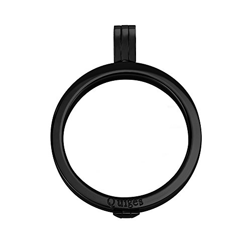 Quiges Schwarz Edelstahl Auswechselbarer Coin Anhänger Münzfassung 33mm