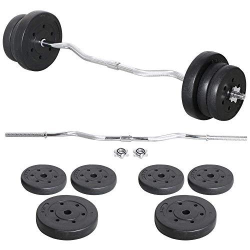 Vivo© 23.5kg EZ Curl Bent Bar Dumbbells Set Barbell Weights - Workout...