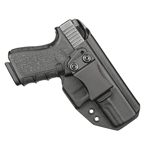 BrotherCraft Kydex Holster for Glock 19 19x 23 32 45 gen 3/4/5- IWB/AIWB Adjustable Cant and Ride Height- Made is The USA (Black, Right-Handed)