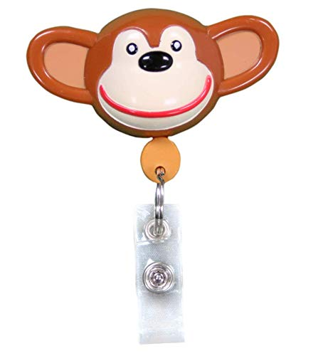 Best ID Badge Retractable Custom Animal Shape with Clip and Reel-Plastic, Key Ring and Plastic Clip for Men, Women, Doctors, Nurses, Kids Clip to Belt, Pants, Keychain, Pocket (Chimp)