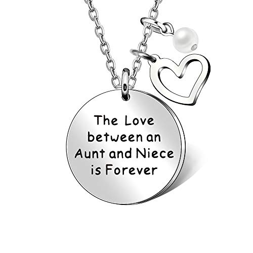 "Halskette mit Anhänger für Tante und Nichte, mit Herz, Perle und Plättchen mit der Aufschrift ""The Love Between an Aunt and Niece is Forever"""