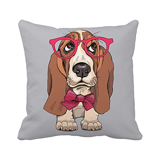 N\A Throw Pillow Cover Brown Portrait of Puppy Basset Hound in Glasses Funda de Almohada con Lazo Funda de Almohada Cuadrada Decorativa para el hogar Funda de cojín
