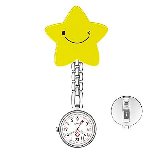 nohbi Reloj Bolsillo de Broche para Paramedicos,Patrón de Dibujos Animados Lindo Reloj de Bolsillo de Enfermera,Cofre con Solapa Pin-F,Reloj de Bolsillo Médico Movimiento de Cuarzo