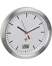 TFA Dostmann Reloj de baño radiocontrolado 60.3539.02 con Temperatura Interior, a Prueba de Humedad, fijación sin taladrar, Color Blanco