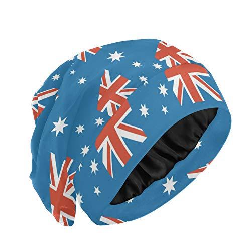 Magnesis Gorro de dormir con forro de satén de la bandera de Australia para las mujeres