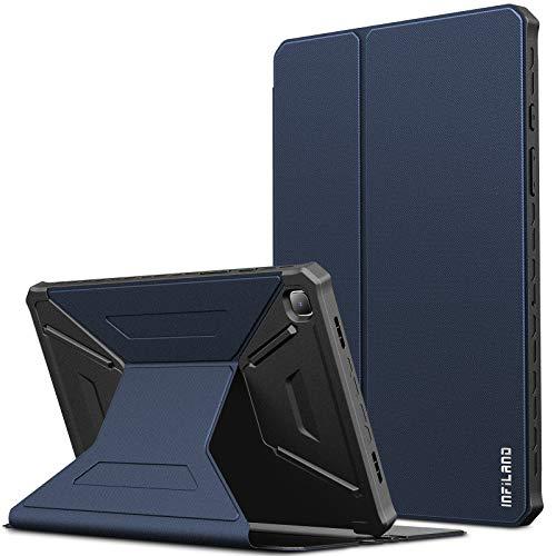 INFILAND Hülle für Samsung Galaxy Tab A7 2020, Einzigartig Mehreren Winkeln Schutzhülle Tasche für Samsung Galaxy Tab A7 10.4 Zoll (SM-T500/T505/T507) 2020, Auto Schlaf/Wach,Dunkleblau