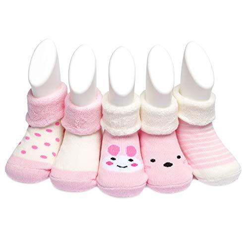 Adorel Calcetines Invierno Termicos Algodón Bebé Pack de 5 Rosa 9-18 Meses (Tamaño del Fabricante S)