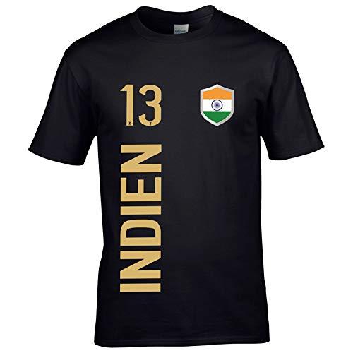 FanShirts4u Herren Fan-Shirt Jersey Trikot - Indien/India - T-Shirt inkl. Druck Wunschname & Nummer WM (5XL, Indien/schwarz)