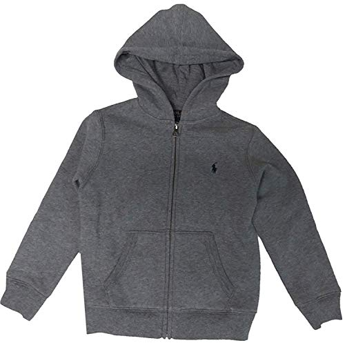 Polo Ralph Lauren Little Boys' Solid Hooded Zippered Sweatshirt Jacket, Grey Heather, 3T