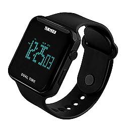 Women Square Digital Watch Alarm Clock Dual Time (Black)