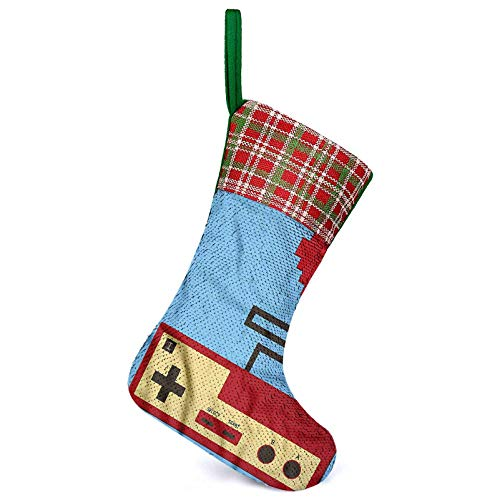 Adorise 3D Christmas Stockings Pixel Style Heart Connected Fireplace Hanging Decorations for Family Holiday Decorations
