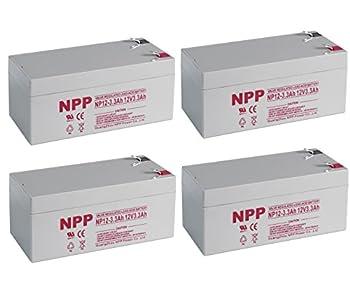 NPP 12V 3.3Ah 12Volt VRLA Sealed Lead Acid Rechargeable Battery Replaces APC Back UPS ES 350 RBC35 WP3-12 BP3-12 BP3.6-12 CF12V2.6 CFM12V3 CP1232  4 Pack