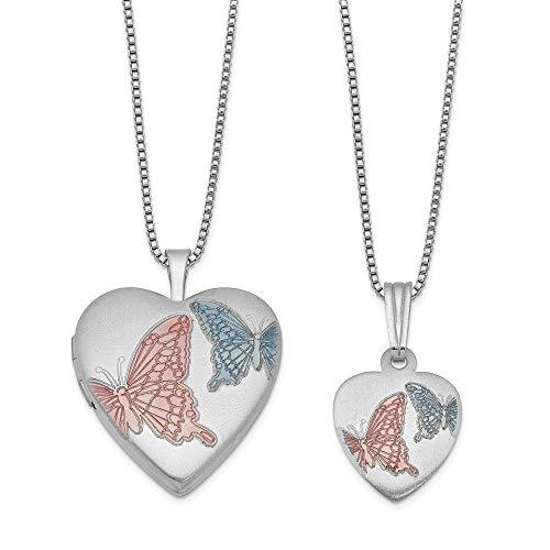 Broche de plata de ley esmalte de raso diseño de mariposas medallón con forma de corazón y juego de lámpara de techo - JewelryWeb