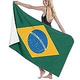 Grande Suave Ligero Microfibra Toalla de Baño Manta,Bandera de Brasil,Hoja de Baño Toalla de Playa por la Familia Hotel Viaje Nadando Deportes Decoración del Hogar,52' x 32'
