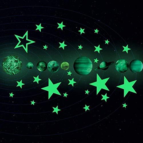 27 stücke im dunkeln leuchten Planeten Sterne Aufkleber, Vankcp abnehmbare leuchtende Planeten Leuchtende Wandtattoos für Kinderzimmer Wand Decke