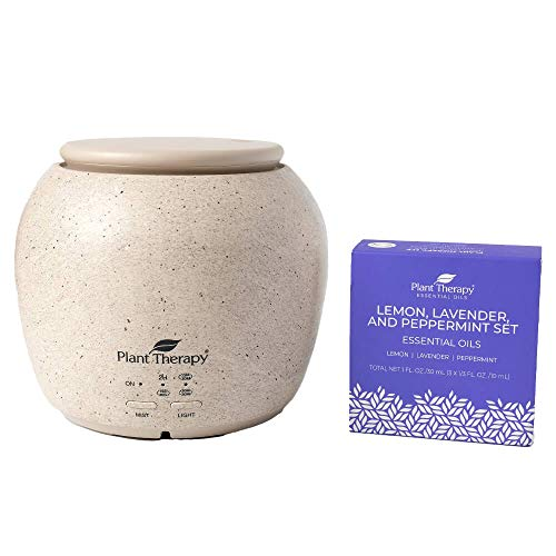 Plant Therapy Lemon, Lavender & Peppermint Set with TerraFuse Deluxe Cream Essential Oil Diffuser 100% Pure, Undiluted, Therapeutic Grade