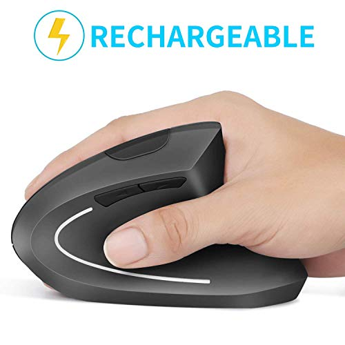 Rechargeable Ergonomic Mouse, Vertical Wireless Mouse, 2.4G Vertical Optical Mouse, Adjustable DPI...