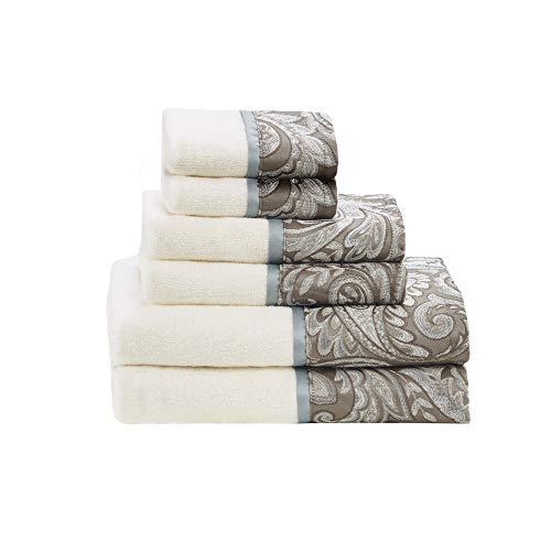 Madison Park Aubrey 6 Piece Jacquard Set for Bathroom, 2 Bath Hand Towels, 2 Washcloths, Spa Luxurious Textured Design, See Below, Blue