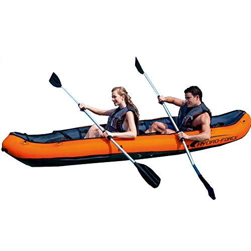 HARUONE Kayak Inflable 2-Persona Al Aire Libre Canoa Raft Drift Boat, En Tándem Kayak Doble para La Pesca, Deportes Divertidos De Agua, La Bomba De Aire Y Paddle