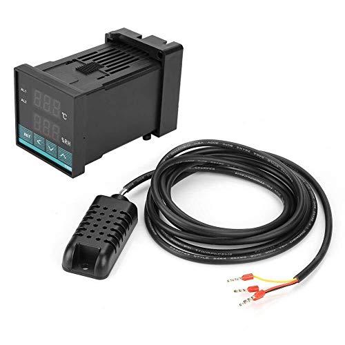 Brightz Termostato Digital, -19.9 ℃ ~ 80.0 ℃ Temperatura Digital Controlador de Humedad Termostato con Salida de relé, Sensor de Temperatura automático del regulador de Temperatura