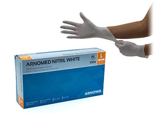 Nitrilhandschuhe puderfreie latexfreie weiße Einmalhandschuhe Größe L 100 Stück/Box ARNOMED Einweghandschuhe in gr. S M L XL