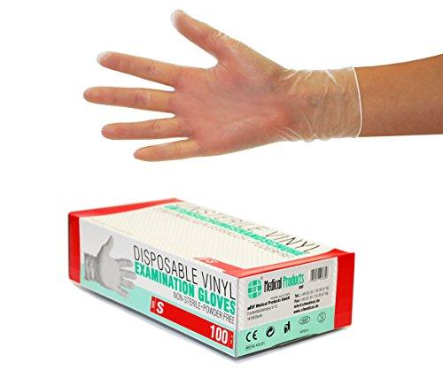 Vinylhandschuhe 100 Stück Box (S, Transparent) Einweghandschuhe, Einmalhandschuhe, Untersuchungshandschuhe, Vinyl Handschuhe, puderfrei, ohne Latex, unsteril, latexfrei, disposible gloves