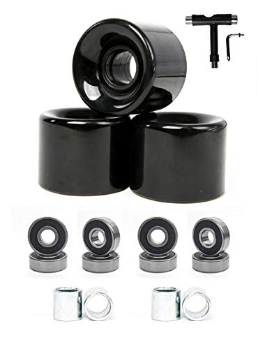 FREEDARE 58mm Skateboard Wheels 82a + ABEC-7 Bearing Steel and Spacers Cruiser Wheels T Tool Set (Black,Pack of 4)