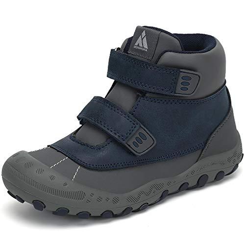 Mishansha Kinder Wanderstiefel High Top Wasserdicnt Klettverschluss Trekkingschuh Leichtes Schuhe für Mädchen rutschfeste Outdoorschuhe Junge Komforbable Walkingschuhe Blau 24 EU