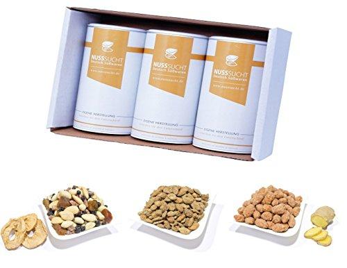 Herbstbox Geschenkset | Gebrannte Mandeln Ingwer | Gebrannte Kürbiskerne | Geröstete Nussmischung Obstgarten | 3x250g Bundle Vorteilspack