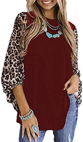 Women's Classic Long Sleeve Crewneck Leopard Blouse Top T-Shirts,Wine Red,X-L
