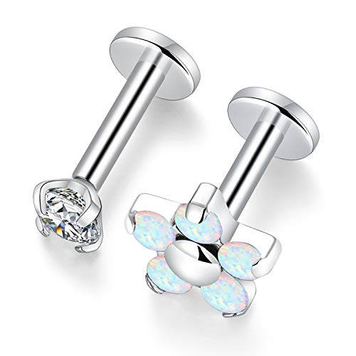 Kzslive 6mm 16g G23 Titanium Flower Opal Labrets Medusa Tragus Helix Piercings Cartilage Studs Curated Ear Set