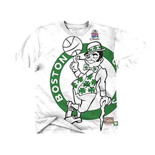 Mitchell & Ness NBA Big Face - Maglietta Boston Celtics, colore: Bianco bianco L