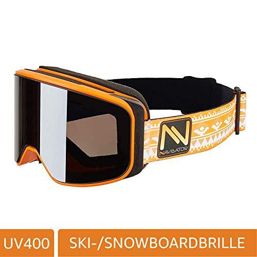 NAVIGATOR POEDER skibril/snowboardbril, vrijwel frameloos, dubbele lens, anticondenscoating, UVA-bescherming, wintersportbril w. spiegelglazen, geschikt voor skihelmen, verschillende kleuren