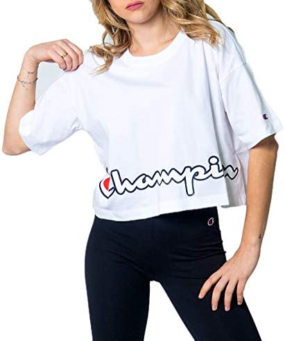 Champion Camiseta para Damas - Cuello Redondo, Crop-Top, Uni, Logo-Print, Manga Corta