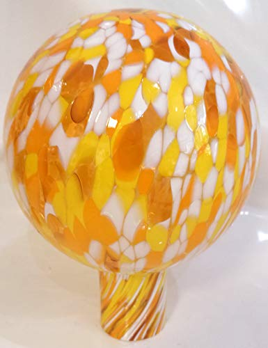 Oberstdorfer Glashütte Große Gartenkugel zum stecken orange gelb weiß Bunte Rosenkugel frostfest Blumenkugel Gartenndekoration mundgeblasen Durchm.16 cm Höhe ca. 22 cm