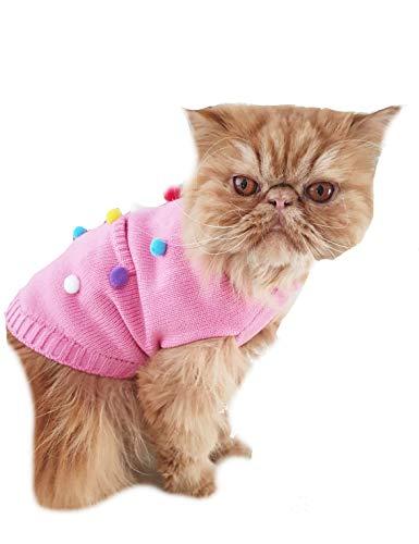 Glamour Girlz Leuke Roze Grijs Bobble Pom Bobble Warm Winter Knit Hond Kat Meisje Jongen Jumper Trui, X-Large, roze