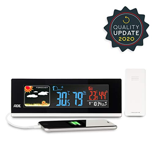 ADE Wetterstation WS 1601 (Digitale Profi Funkwetterstation mit Thermometer und Hygrometer für innen und außen, LED Farbdisplay, USB und Funk-Sensor)