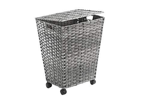 Kobolo Wäschebehälter mit Rollen aus grauem Polyrattan