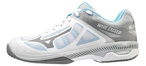 Mizuno Women's Wave Exceed Super Light All Court Tennis Shoe, Whitegrey, 9 Regular US