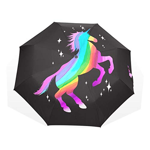 Fold Up Umbrella for Kids Mythology Set Unicorn Silhouette Unicorn Windproof Kids Rain Umbrella Rain & Wind Resistant Compact and Lightweight for Business and Travels
