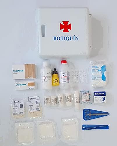 Botiquin armario de pared con dotacion 280 mm x 250 mm x 100 mm equipado con varios articulos para realizar las primeras curas en caso de emergencia, Botiquín De Primeros Auxilios