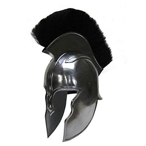AnNafi Aquiles Troy Armor Helmet (Acero)| Disfraz Medieval Knight Armor | Replicas de Metal Plata Reconstruccin LARP