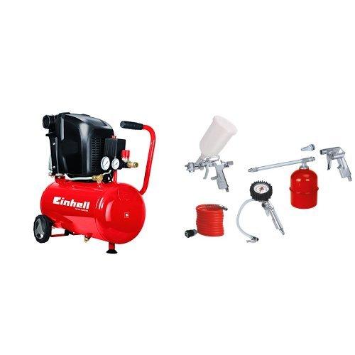 Einhell TE-AC 230/24 - Compresor + Kit de aire comprimido (metálico, 5 piezas, 1.7 kg) color rojo y blanco