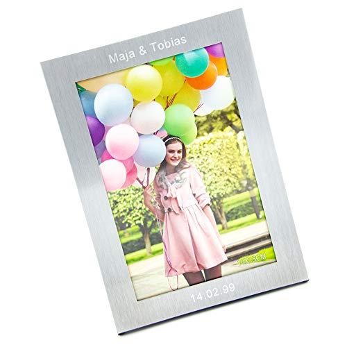 Bilderrahmen mit Gravur - Fotorahmen mit individuellen Namen personalisiert - Silber (10x15cm) (ONE)