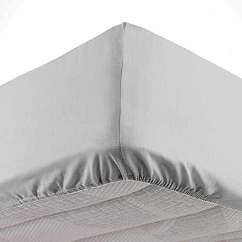 Douceur d'Intérieur - Sábana Bajera para Cama Individual (90 x 190 cm, Microfibra, Color Gris Claro, 100% poliéster)
