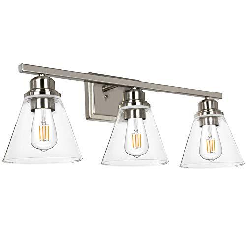 Hykolity 3-Light Bathroom Light, Led Edison Bulbs Included, Brushed Nickel Vanity Light Fixtures, Bathroom Wall Sconce Lighting with Clear Glass Shades, ETL Listed