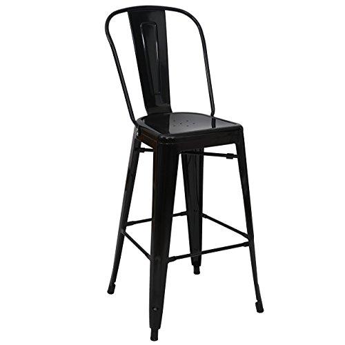 Mendler Tabouret de Bar HWC-A73, Chaise de comptoir avec Dossier, métal, Design Industriel - Noir