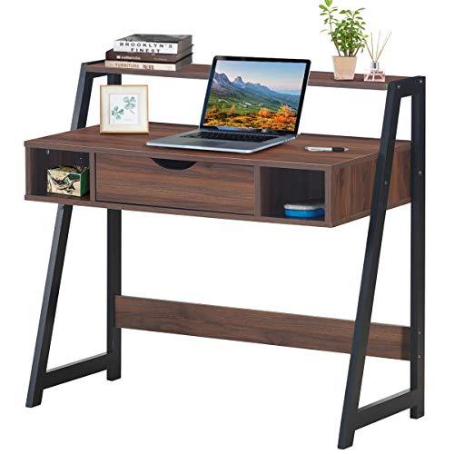 COSTWAY Schreibtisch mit Schublade, Ablage und 2 offenen Fächern, Computertisch aus Holz, Arbeitstisch Industrie, Bürotisch, PC-Tisch fürs Wohnzimmer, Arbeitszimmer, Büro