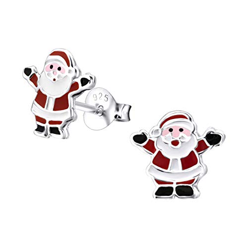 Sterling Silver Mini Christmas Santa Earrings Gift