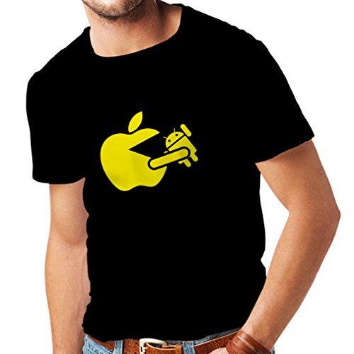 Männer T-Shirt Lustiger Apfel isst einen Roboter - Geschenk für Tech-Fans (Small Schwarz Gelb)